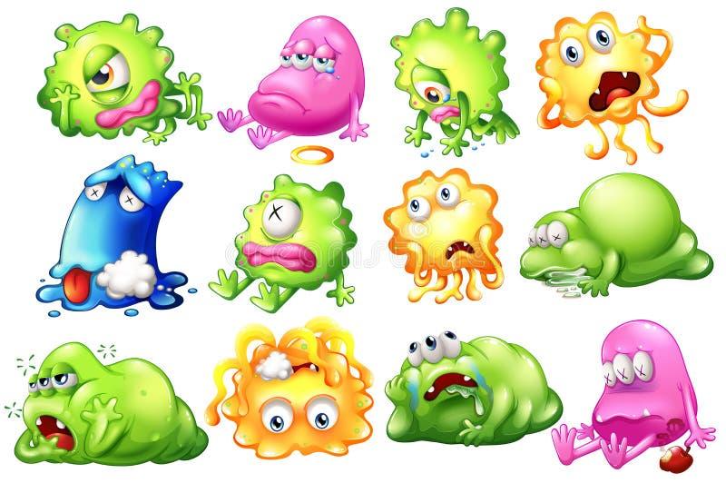 Smutni i barwiarscy potwory ilustracji