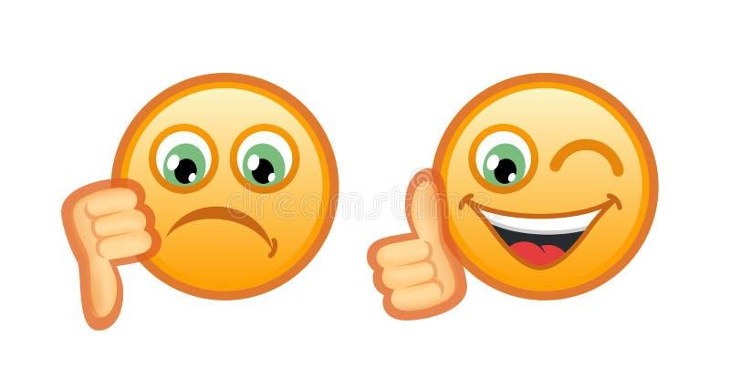 Smutni i radość Smileys ilustracja wektor