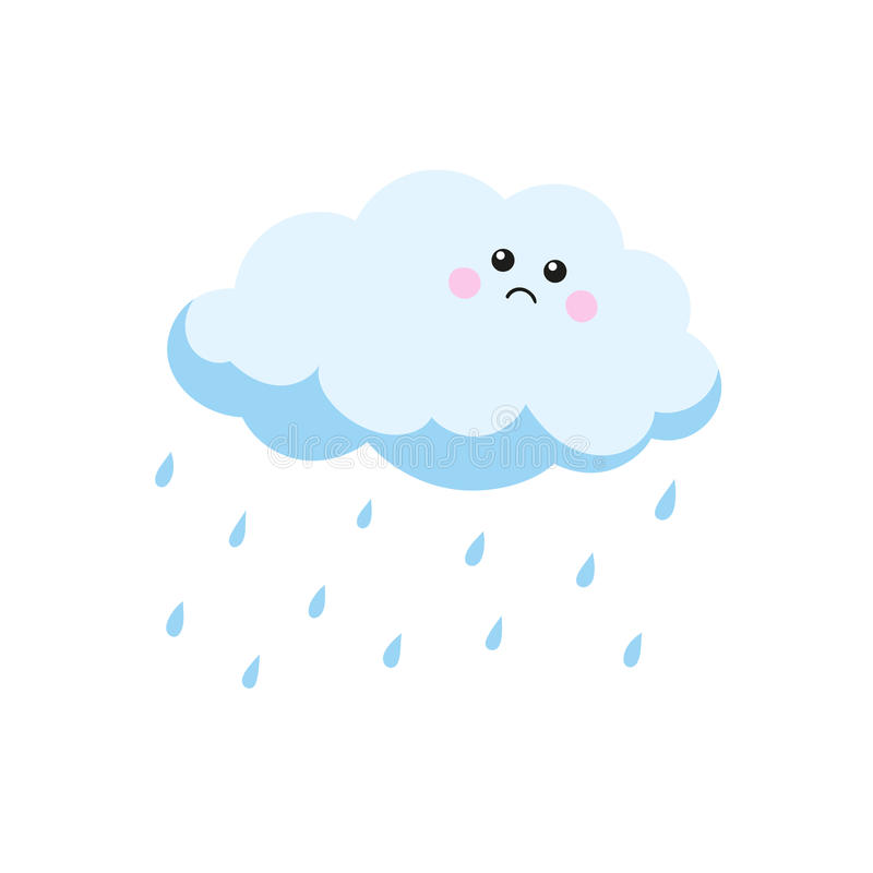 Smutni obłoczni płaczów raindrops również zwrócić corel ilustracji wektora ilustracji