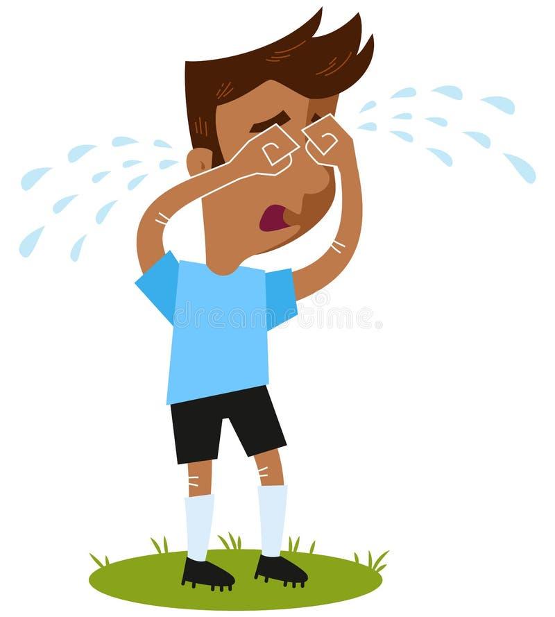 Smutni południe - amerykańskiej kreskówki pola zewnętrzn futbolowy gracz płacze wiele łzy stoi na zieleni odizolowywającej na bia ilustracji