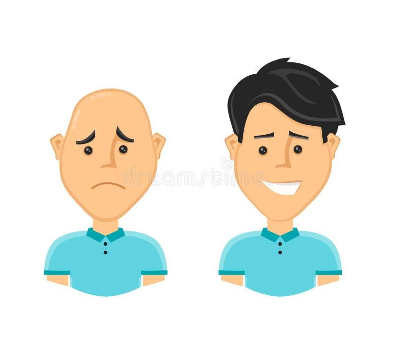 Smutny łysy mężczyzna i szczęśliwy mężczyzna z pięknym ilustracji