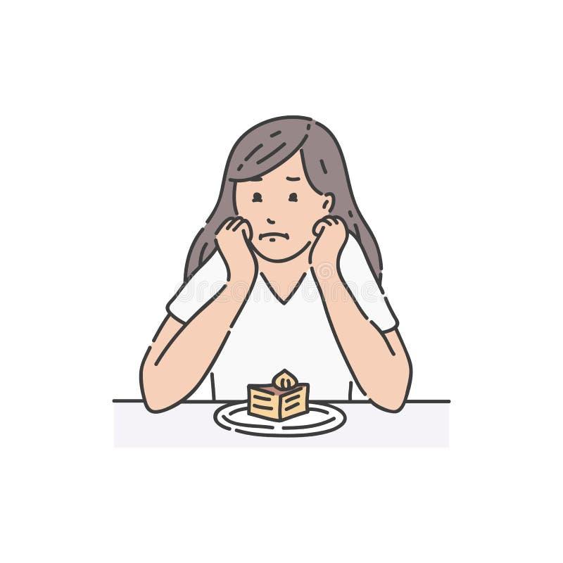 Smutny żeński obsiadanie przy stołowym podpierający kierowniczego i patrzeje tortowego kreskówka styl ilustracji