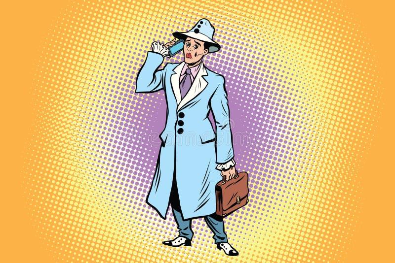 Smutny błazenu biznesmen opowiada na telefonie ilustracja wektor