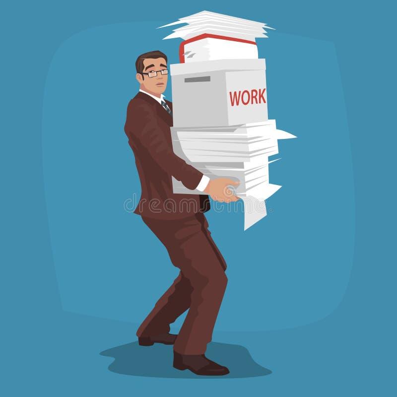 Smutny biznesmen niesie pracujących papiery royalty ilustracja