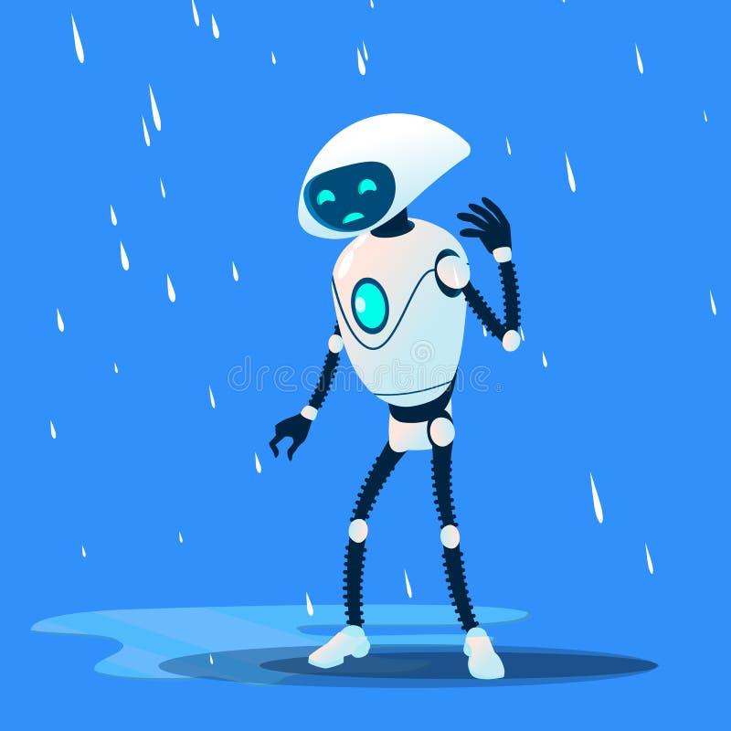 Smutny Brocken robot Na Podeszczowym wektorze button ręce s push odizolowana początku ilustracyjna kobieta royalty ilustracja