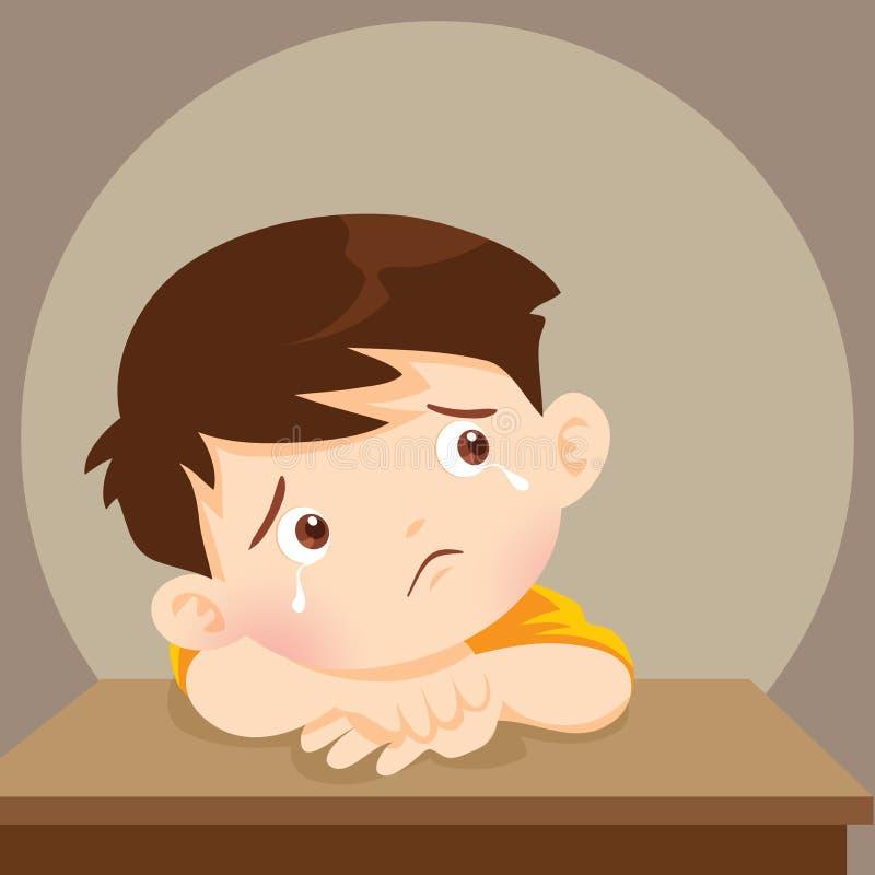 Smutny chłopiec potrzeby pocieszać Przygnębiona chłopiec patrzeje osamotniony royalty ilustracja
