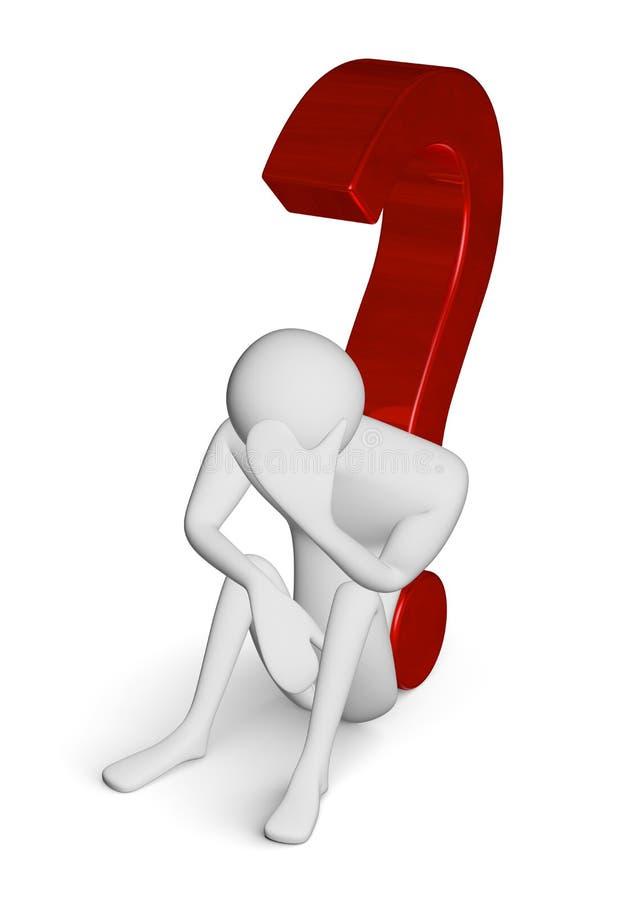 Smutny 3d mężczyzna na zmielony opierać przeciw znakowi zapytania ilustracja wektor