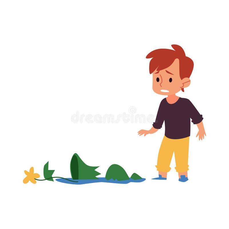 Smutny dziecko patrzeje łamaną wazę, winna kreskówki chłopiec w kłopocie łamał kwiatu garnek w kawałki ilustracja wektor