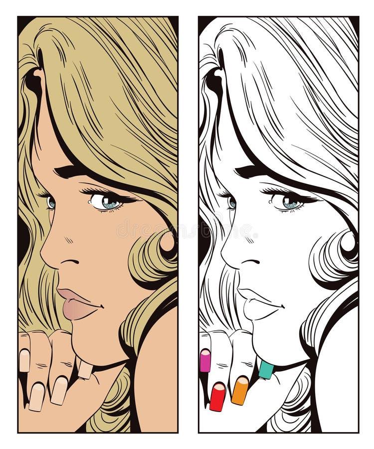 smutny dziewczyna portret Ludzie w retro stylu ilustracja wektor