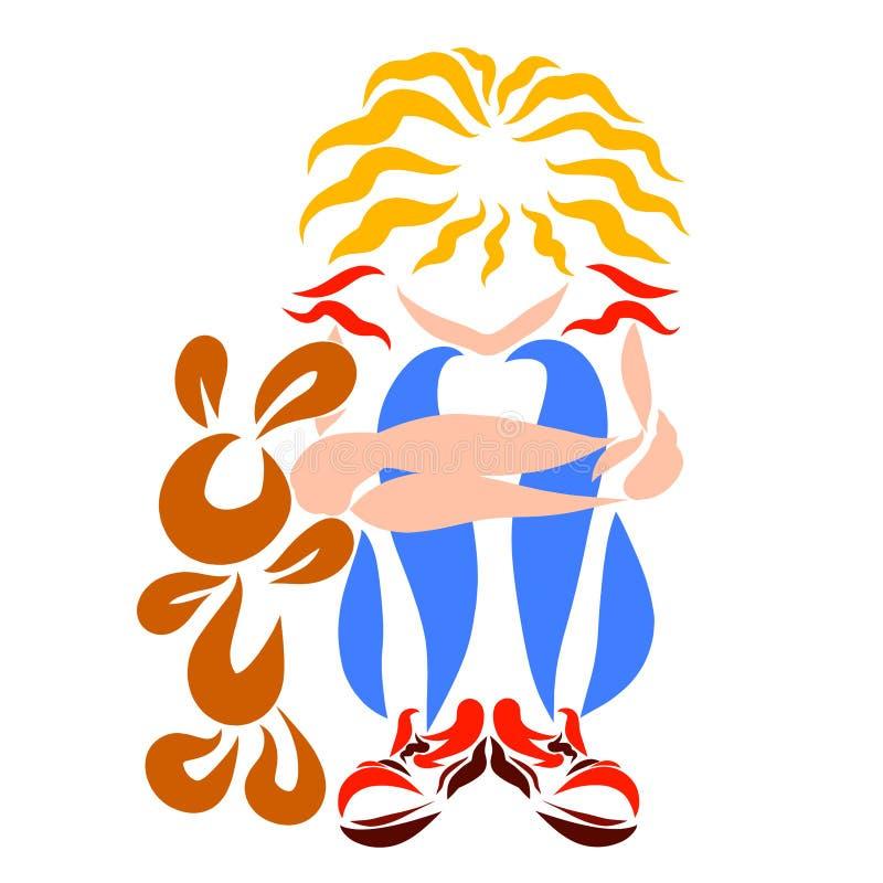 Smutny dziewczyny i zabawki królik, samotność, abstrakta wzór royalty ilustracja