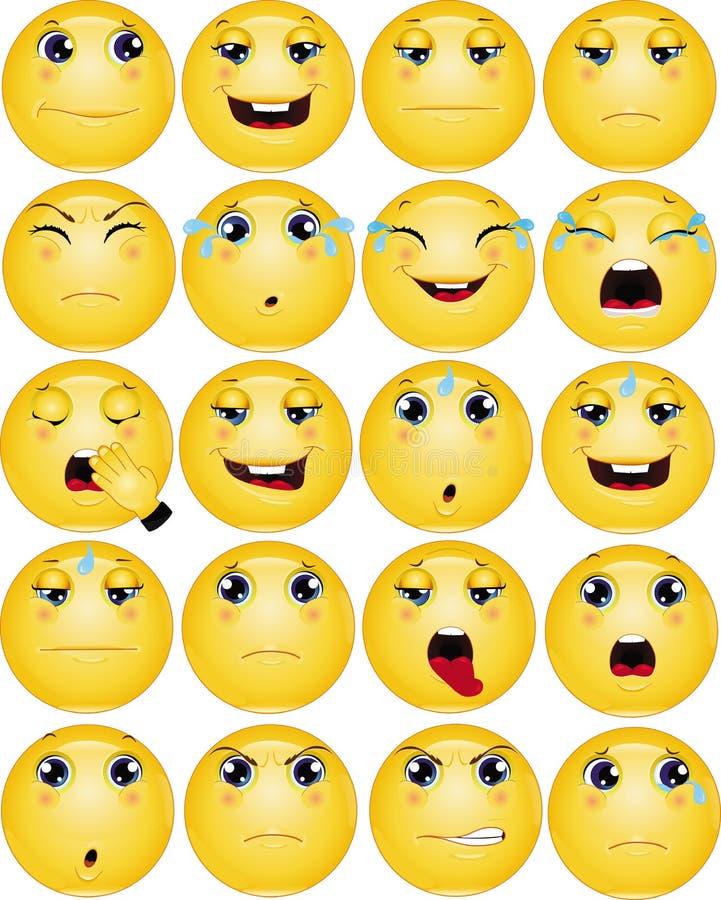Smutny Emoticons wektoru set ilustracja wektor