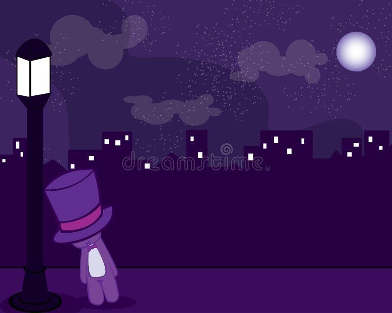 Smutny i sfrustowany niedźwiedź z kapeluszem w nocy royalty ilustracja