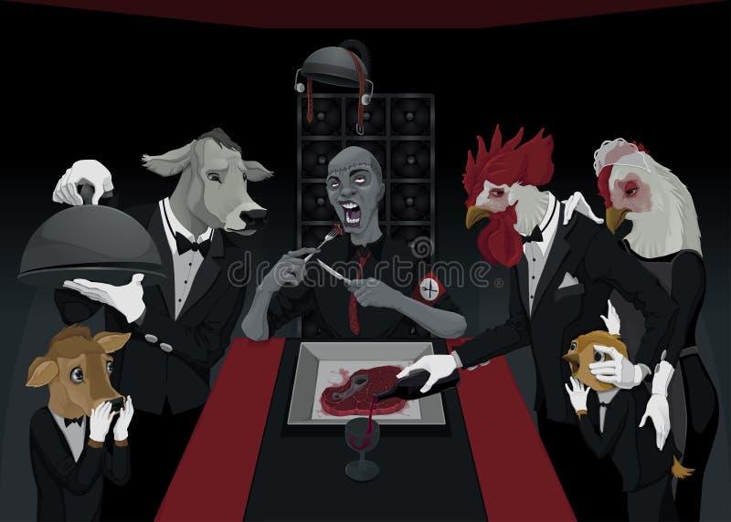 Smutny jedzenie ilustracji