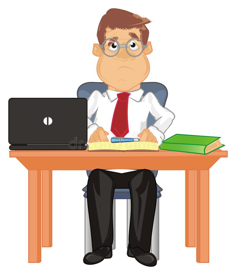 Smutny kierownik siedzi ilustracji