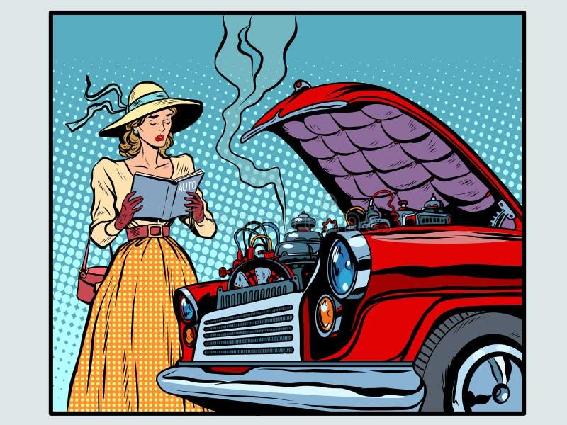 Smutny kobieta kierowca blisko łamanego samochodu royalty ilustracja