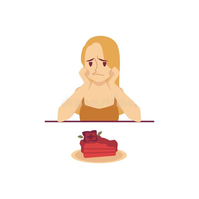 Smutny kobiety obsiadanie przy stołowym i patrzeje tortem podczas diety kreskówki stylu ilustracji