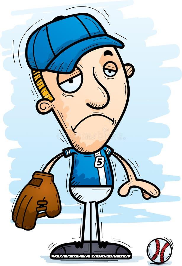 Smutny kreskówka gracz baseballa ilustracja wektor