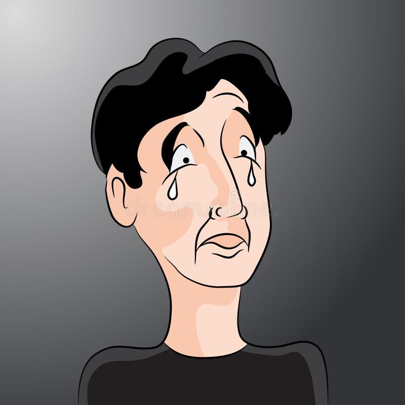 Smutny kreskówka mężczyzna z łzami royalty ilustracja