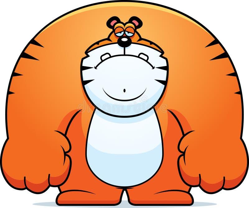 Smutny kreskówka tygrys ilustracja wektor