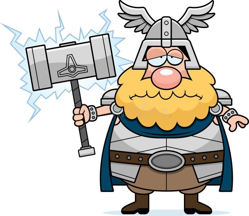 Smutny kreskówki Thor ilustracja wektor