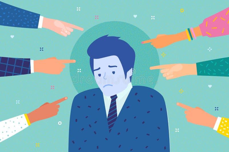 Smutny lub przygnębiony mężczyzna otaczający rękami z palcami wskazującymi wskazuje przy ona royalty ilustracja