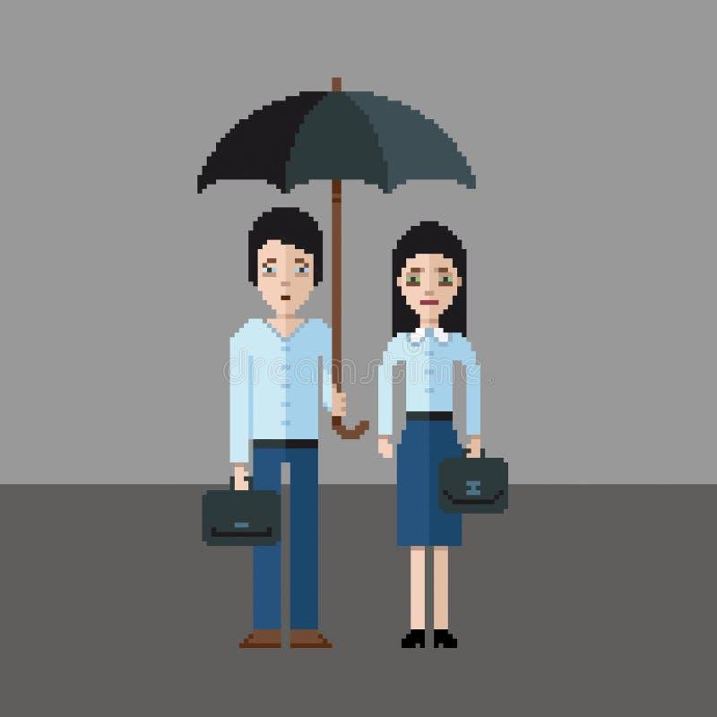 Smutny mężczyzna i dziewczyna pod parasolem, piksel sztuki stylu ilustracja ilustracja wektor
