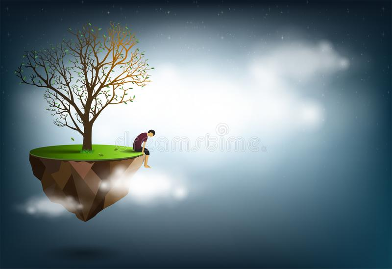 Smutny mężczyzna obsiadanie pod drzewem Jest konceptualnym wizerunkiem rozczarowanie, miłość royalty ilustracja