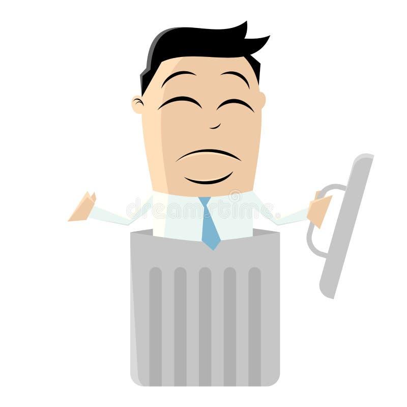 Smutny mężczyzna w ściółka koszu ilustracja wektor
