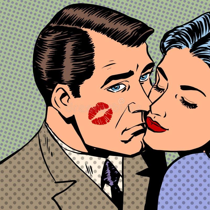 Smutny mężczyzna z śladami buziak na twarzy i ilustracja wektor