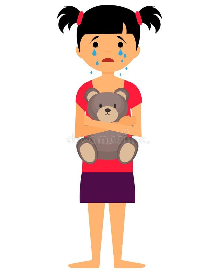 Smutny mała dziewczynka płacz ilustracja wektor
