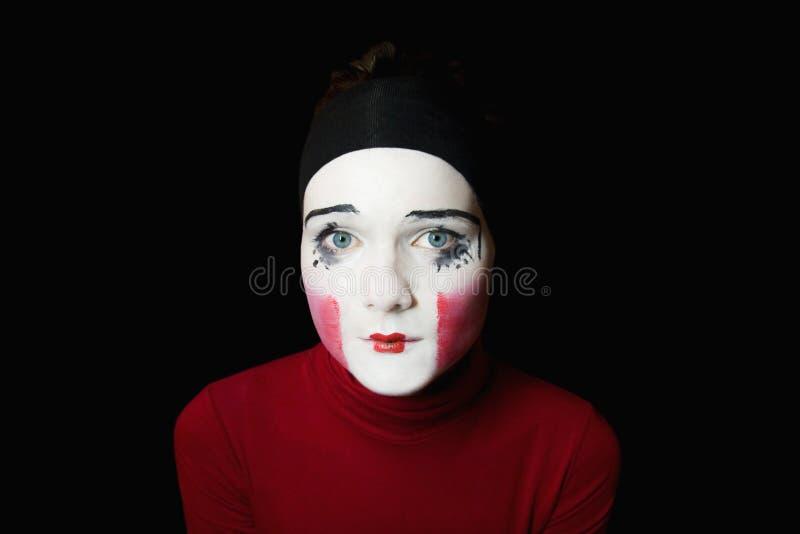 smutny mima portret obrazy stock