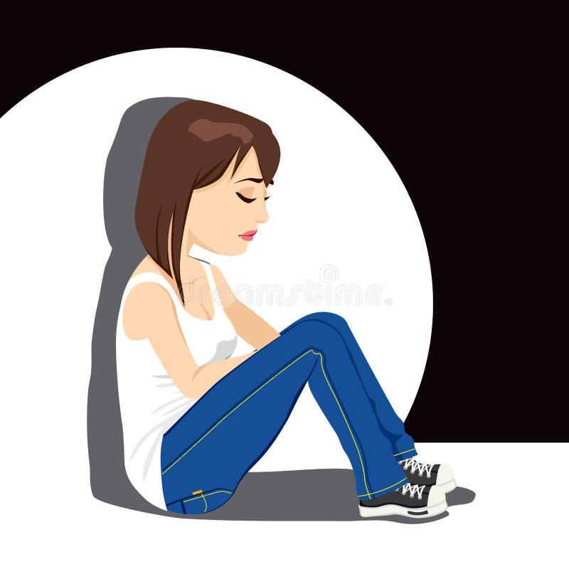 Smutny nastolatek dziewczyny płacz ilustracji