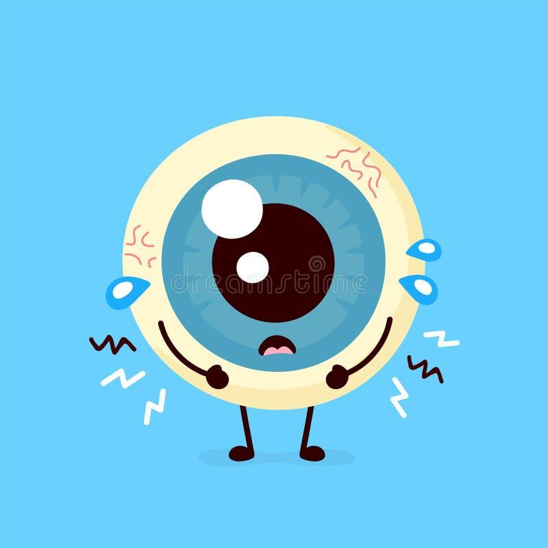 Smutny niezdrowy chory ludzki gałka oczna organ ilustracji