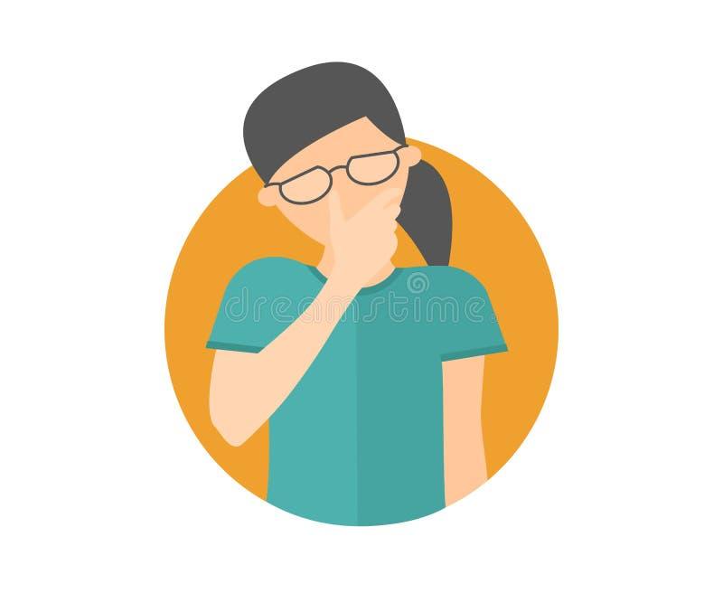 Smutny, płaczący, deprymująca caucasian dziewczyna w szkłach Płaska projekt ikona Ładna kobieta w żalu, stroskanie, kłopot Po pro ilustracji
