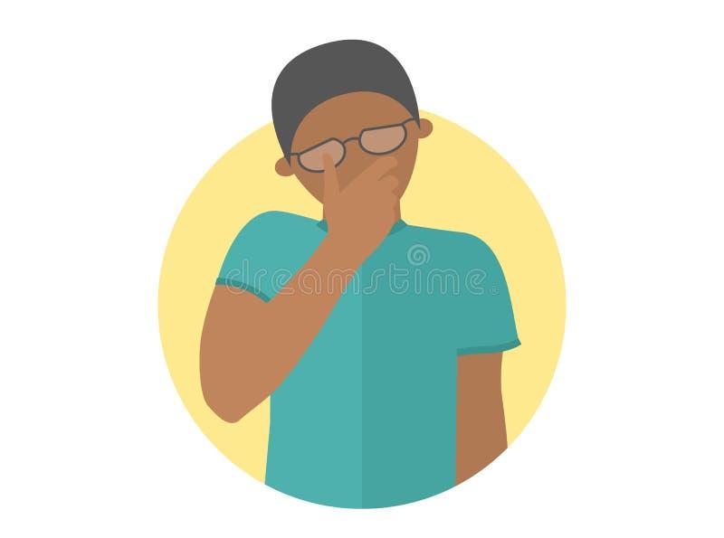 Smutny, płaczący, deprymująca czarna chłopiec w szkłach Płaska projekt ikona Przystojny mężczyzna w żalu, stroskanie, kłopot Po p ilustracja wektor