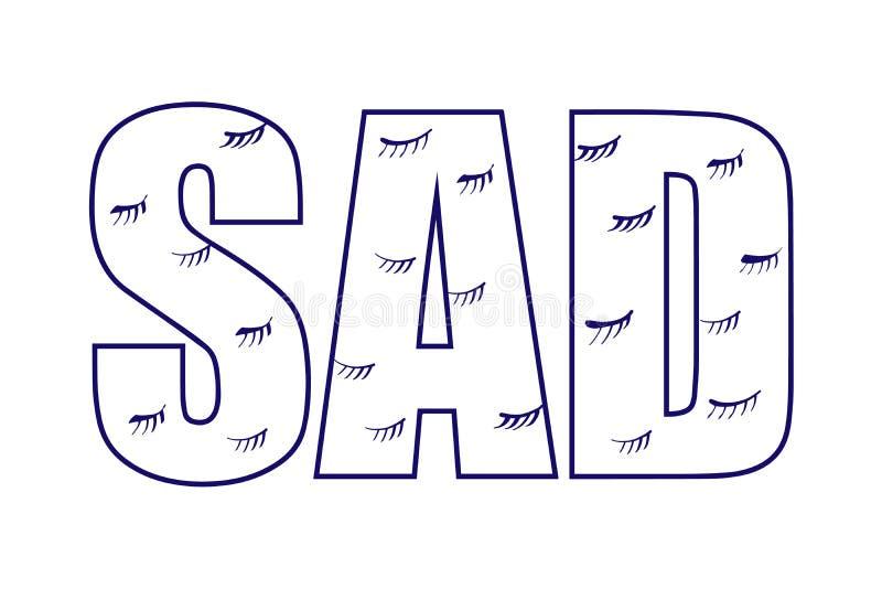 Smutny płacz zamykająca oka tła ręka rysująca w minimalistic stylowym literowaniu dla druków plakatów sztandarów prezentacji t ilustracji