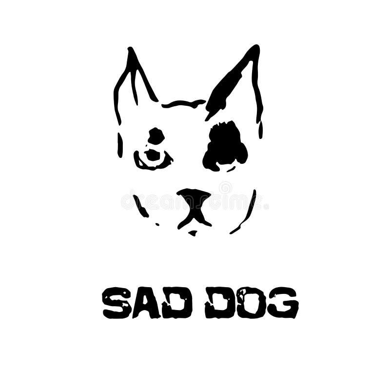 smutny pies Buldoga kierowniczy wektor Nowożytna atramentu szczotkarskiego rysunku zwierzęcia głowa również zwrócić corel ilustra ilustracja wektor