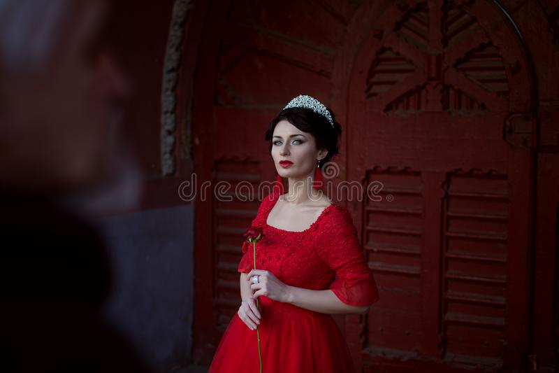 Smutny princess z różą zdjęcia stock