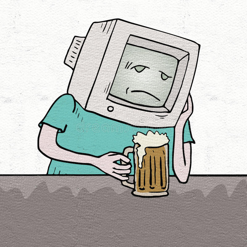 Smutny retro komputerowy pijący ilustracja wektor