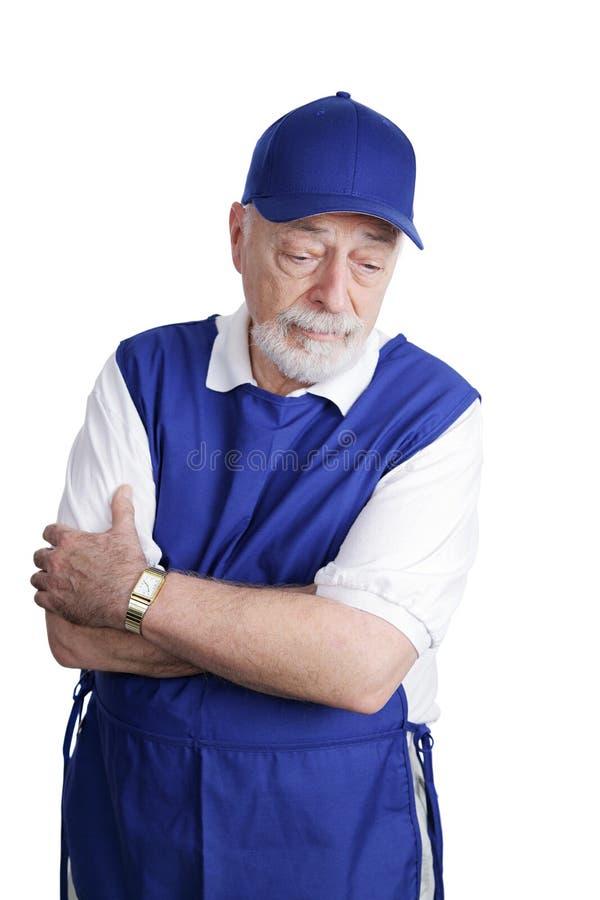smutny seniora zmęczony pracownik zdjęcia royalty free