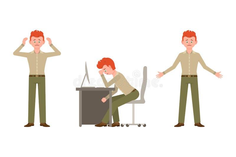 Smutny, skołowany, nędzny biurowy facet w zieleni, dyszy wektorową ilustrację ilustracja wektor