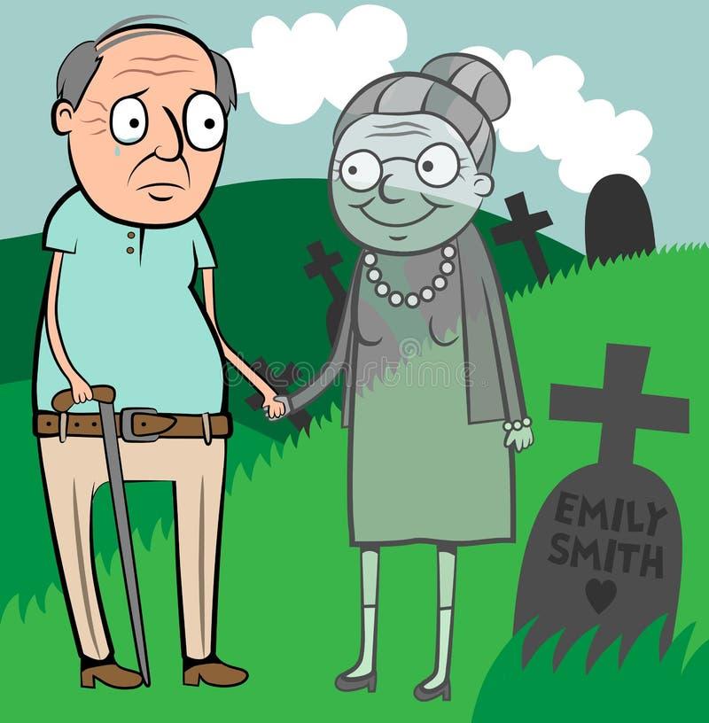 Smutny starego człowieka wdowiec royalty ilustracja