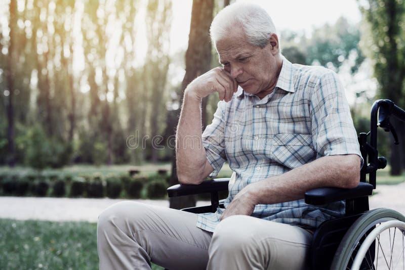 Smutny stary człowiek w wózku inwalidzkim na parku zdjęcie stock