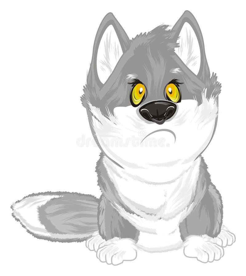 Smutny wilk siedzi royalty ilustracja