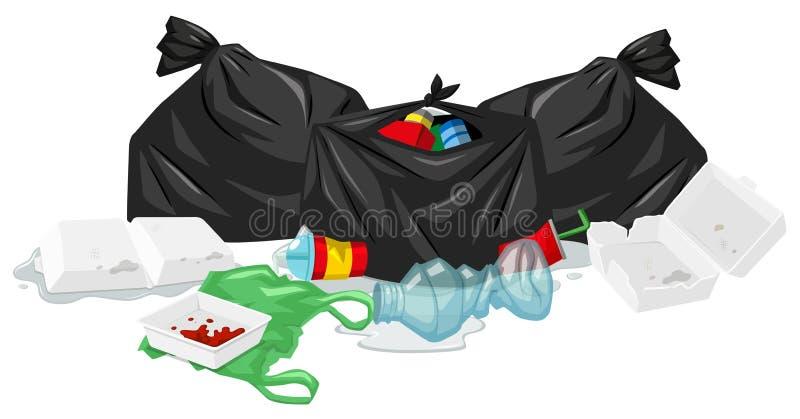 Smutsa ner avfall på golvet royaltyfri illustrationer