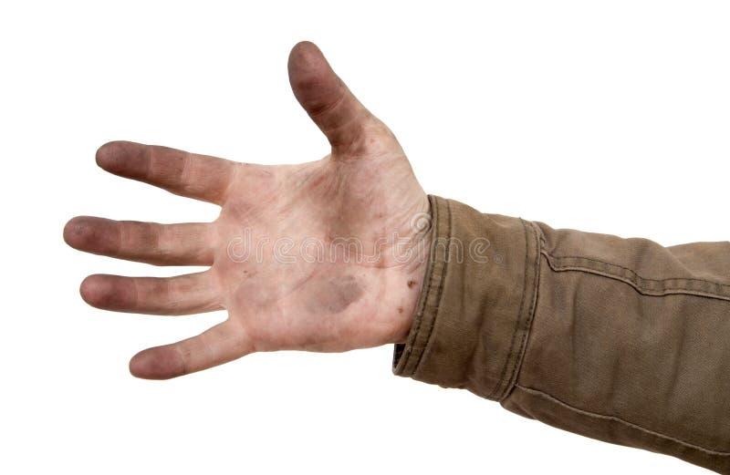 Smutsa ner händer på en vit bakgrund arkivfoto