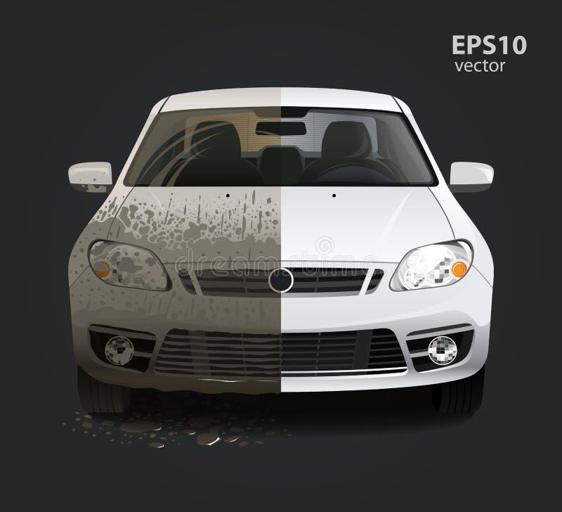 Smutsig biltvättservice stock illustrationer