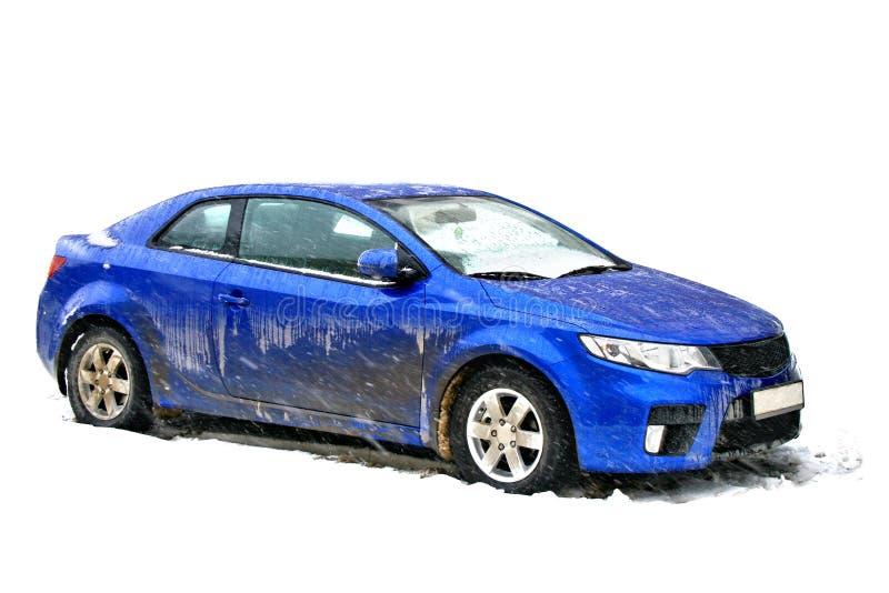 smutsig blå bil arkivbilder