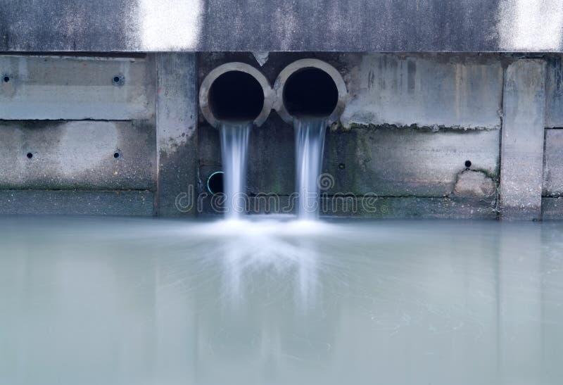 Smutsig drain som förorenar en flod royaltyfri fotografi
