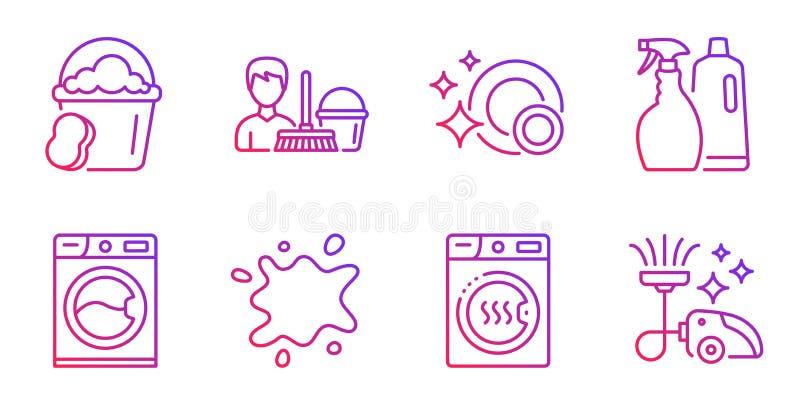 Smutsig fläck, svamp och rengörande servicesymbolsuppsättning Tvagningmaskin, ren disk och torrare maskintecken vektor royaltyfri illustrationer